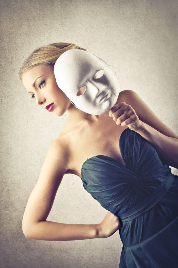 beautiful elegant woman with mask