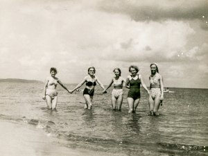 POLAND, CIRCA 1940's: Vintage portrait of four women bathing in