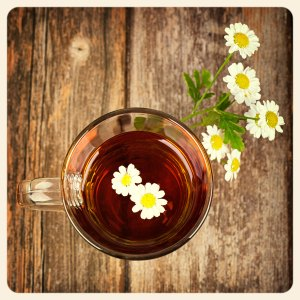 Glass cup of camomile tea with camomile flowers, on vintage wood