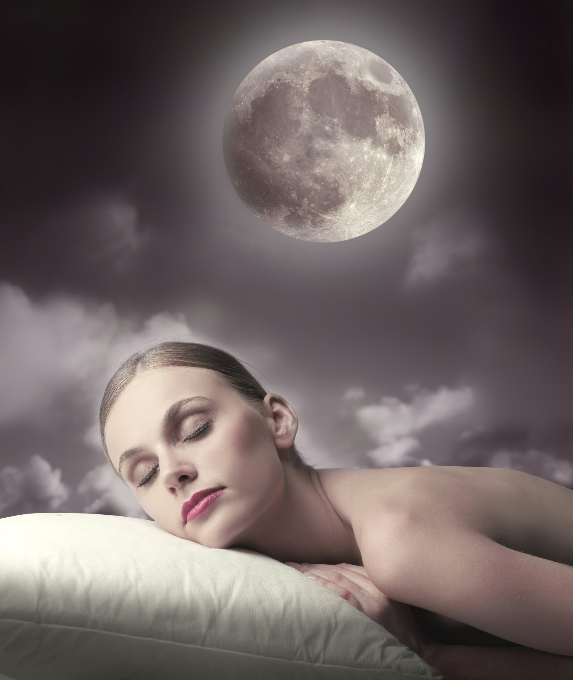 woman sleeping in the moonlight