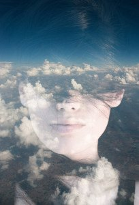 Dream like surreal double exposure portrait of attractive lady c