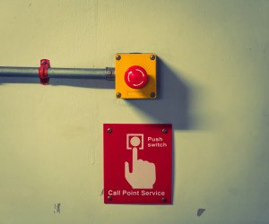 Call point service Button ( Filtered image processed vintage effect. )